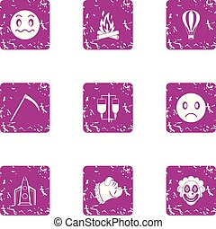 Indoctrination icons set. Grunge set of 9 indoctrination vector icons for web isolated on white background