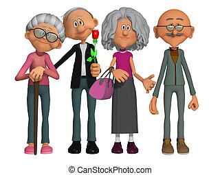indokolt, boldog, öreg, 3, emberek