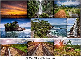 indonésia, tema, colagem