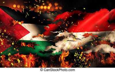 indonésie, brûler, déchiré, drapeau, palestine, international, guerre, conflit, 3d