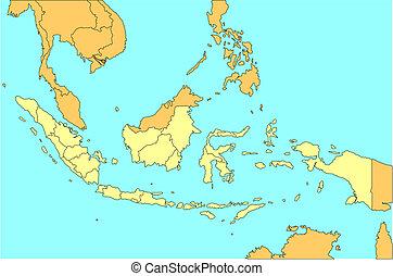 indonésie, districts, administratif, entourer, pays
