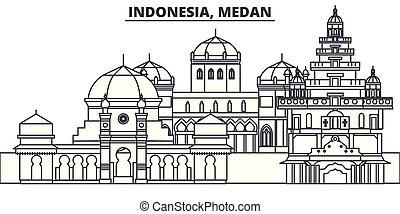 indonésie, ville, illustration., paysage., repères, célèbre, horizon, vecteur, vues, cityscape, ligne, medan, linéaire