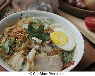 indonésien, lontong, soto, ketupat, ayam, servi, poulet, ou
