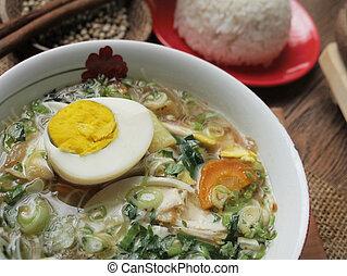 indonésien, soto, ou, ayam, servi, riz blanc, poulet