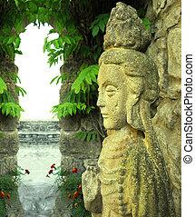 indonésio, deusa, estátua