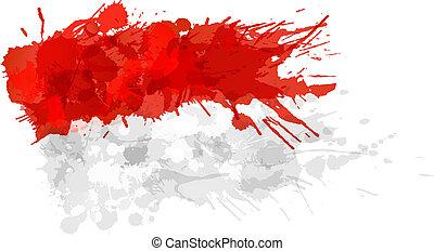 indones, gjord, flagga, färgrik, stänk