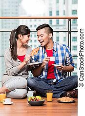 indones, ha, par, frukost, ung