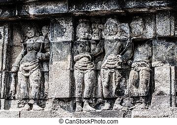indonesia., ジャワ, yogyakarta, sunrise., borobudur の寺院
