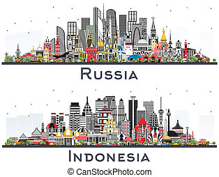 Indonesia and Russia City Skylines with Color Buildings Isolated on White. Tourism Concept with Historic Architecture. Cityscapes with Landmarks. Moscow. Saint Petersburg. Yekaterinburg. Jakarta. Surabaya. Bekasi. Bandung.