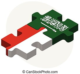 Indonesia and Saudi Arabia Flags in puzzle - Vector Image -...