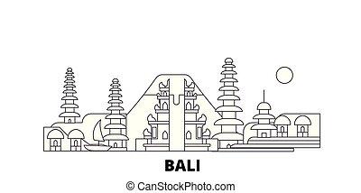 Indonesia, Bali line travel skyline set. Indonesia, Bali outline city vector illustration, symbol, travel sights, landmarks.