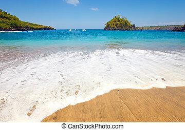 indonesia, bali, pietre, ocean., spiaggia, sabbioso, vista