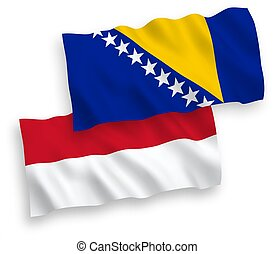 indonesia, blanco, herzegovina, bosnia, banderas, plano de ...