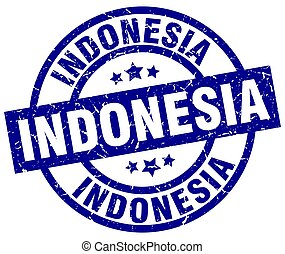 Indonesia blue round grunge stamp