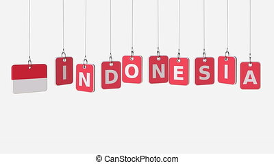 INDONESIA caption and Indonesian flag on swinging plates,...
