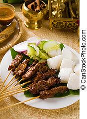 indonesia, carne, isolare, cibo, malaysia, sate, piatto,...