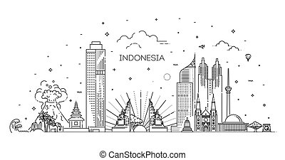 Indonesia Cityscape with Landmarks. Vector illustration