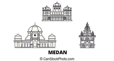 indonesia, ciudad, contorno, ilustración, viaje, landmarks...