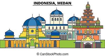 indonesia, ciudad, paisaje, panorama, edificios, landmarks...