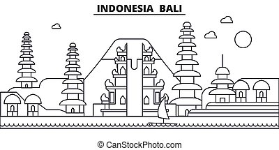 indonesia, ciudad, wtih, illustration., bali, golpes, lineal...