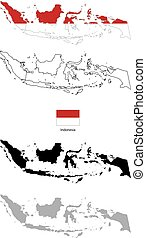 Indonesia country black silhouette and with flag on background