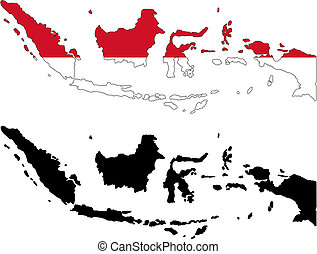 indonesia - vector map and flag of Indonesia with white...