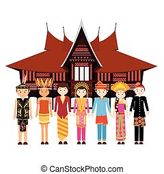 Indonesia ethnic group wearing traditional dress clothes in...