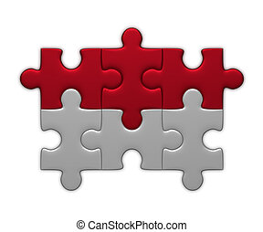 Indonesia flag of puzzles - Indonesia flag assembled of...