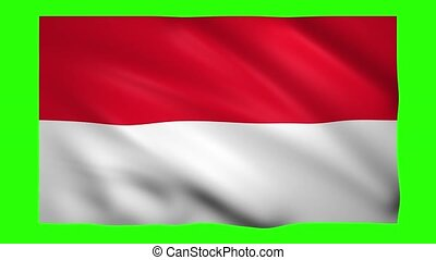 Indonesia Flag on green screen for chroma key