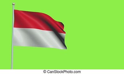 Indonesia Flag in 3D render with green screen background in Slow Motion