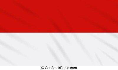 Indonesia flag waving cloth background, loop