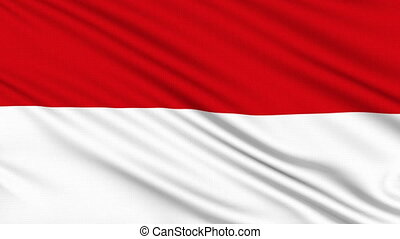 Indonesia flag, with real structure of a fabric