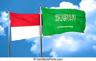 Indonesia flag with Saudi Arabia flag, 3D rendering