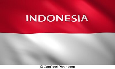 Indonesia Flag with the name of the country