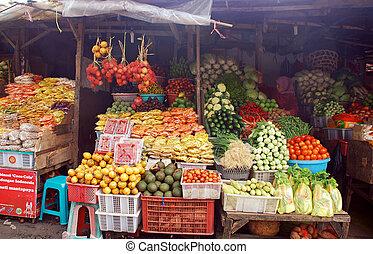 indonesia, frugt, gade markedsfør, bali, eksotiske