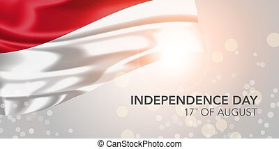 Indonesia happy independence day vector banner, greeting card. Indonesian realistic wavy flag in 17th of August national patriotic holiday horizontal design