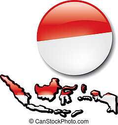 Indonesia - An artistic rendering of this country's map and...