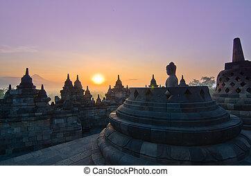 indonesia., java, yogyakarta, borobudur, stupa, tempel,...