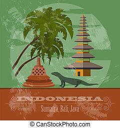 Indonesia landmarks. Retro styled image. Vector illustration