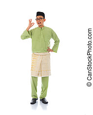 indonesia male with ok sign during ramadan isolated white background