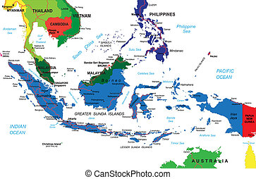 Detailed vector map of Indonesia with country borders, county names, main roads and a highly detailed state silhouette.