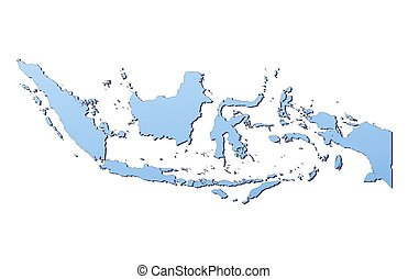 Indonesia map filled with light blue gradient. High resolution. Mercator projection.