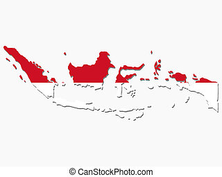 map of Indonesia and Indonesian flag illustration