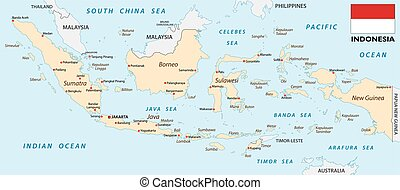 indonesia map with flag - indonesia vector map with flag