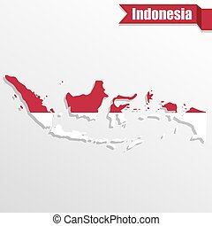 Indonesia map with flag inside and ribbon