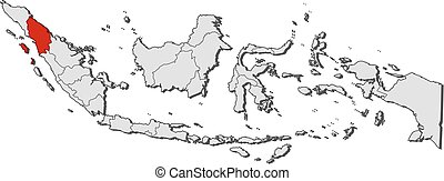 indonesia, mapa, sumatra, -, norte
