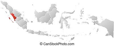 indonesia, mapa, sumatra, -, oeste