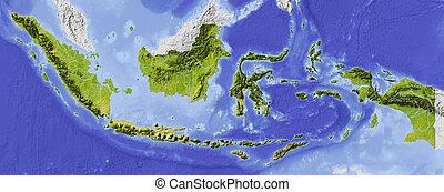 indonesia, mappa, ombreggiato, sollievo