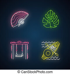 Indonesia neon light icons set. Tropical country plants. Trip to Indonesian islands. Exploring exotic culture traditions. Unique souvenir. Floating market. Glowing signs. Vector isolated illustrations