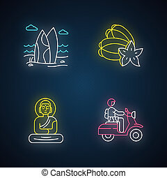Indonesia neon light icons set. Tropical country seaside. Vacation in Indonesian islands. Exploring exotic traditions, culture. Bali culture. Glowing signs. Vector isolated illustrations